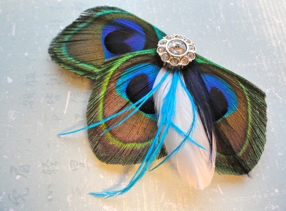 DANIELLE in Peacock Blue and Turquoise Feather Fascinator, Hair Clip