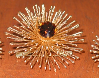 Incredible Sarah Coventry Sunburst Brooch and Earrings