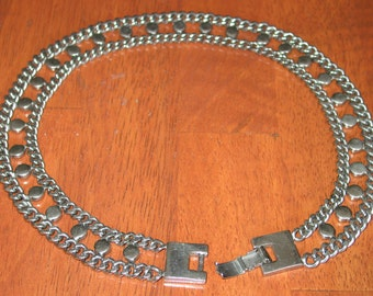 Beautiful and Heavy Brookcraft Silver Tone Necklace