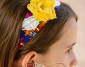 Shabby chic multi color puzzle design headband supporting AUTISM -  bright yellow flower and white leaves