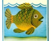 Vintage wall hanging, 70s school classroom wall art, beautiful fish.