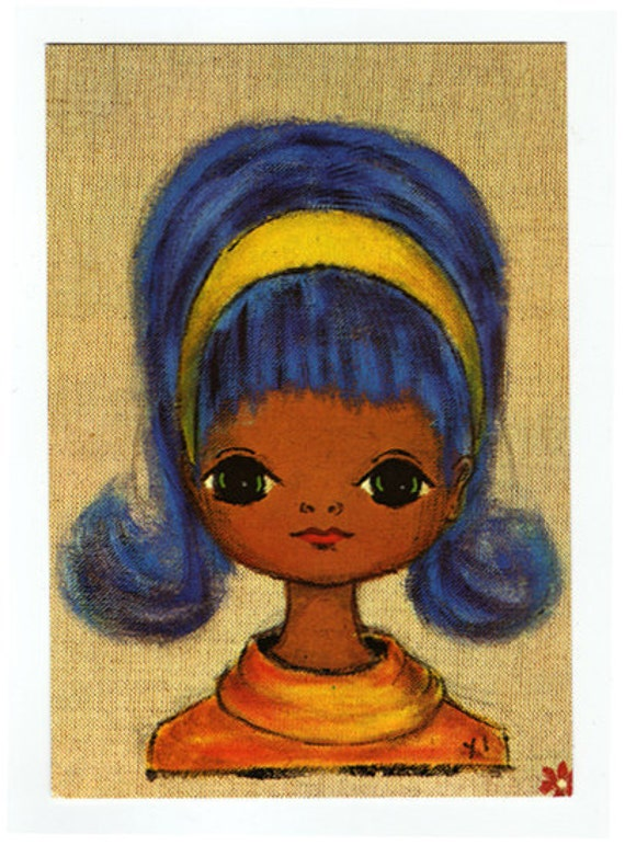 Vintage postcard from the 70's. Cute portrait from a blue eyed girl.