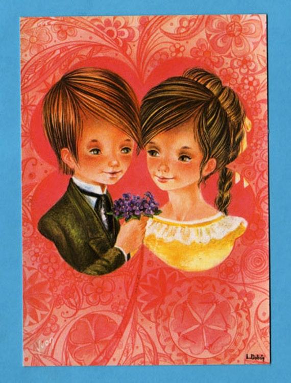 Vintage postcard 70s. Cute romantic couple.