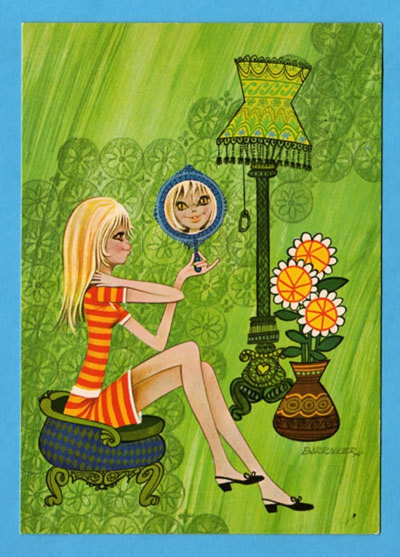 Postcard big eyed doll vintage 70s. Illustrator Barraguer. Mod girl looking in the mirror if she looks nice.