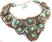 SALE Turquoise Stunner....Bead Embroidery Bib Necklace..Copper, brown, crystal