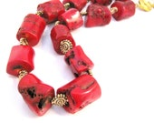 Coral Necklace with Gold Spiral Accents, red gold, beaded, gemstone