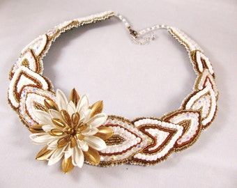 Bead Embroidered Necklace, crystal, white, brown, gold, cream, vintage brooch, flower, floral, leaf