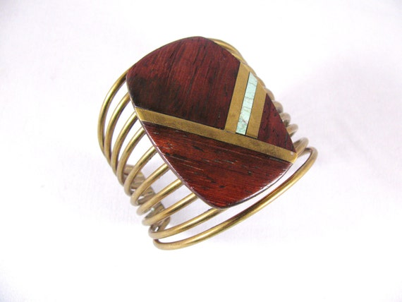 RESERVED FOR LAURA Brass Cuff Bracelet Wood, Brass, Inlay, Chunky Bracelet