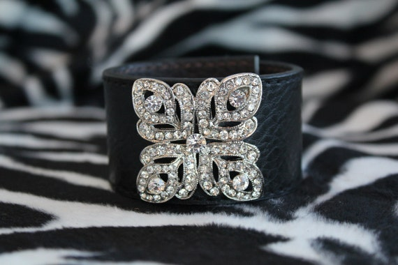 Handmade Black Leather Cuff Bracelet with Clear Rhinestones