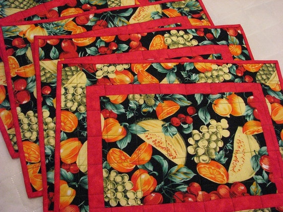 Placemats, Table linens, Fruit Place Mats, kitchen Linens, Fabric Place mat, linens, table decor, Kitchen Table, Dining Table Mats Set of 4