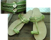 Kolhapuri Chappals Handmade Indian Sandals in Lemon Lime Green Size 7