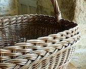 French handmade market shopping basket, vintage wicker basket for Easter
