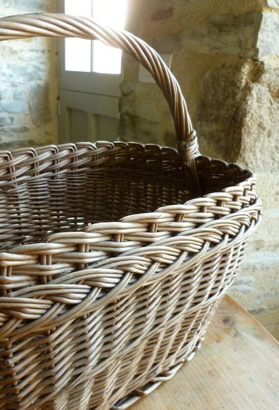 Handmade Market Baskets : French handmade market ping basket vintage wicker