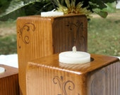 Rustic wedding candle holders, wooden - Set of 3