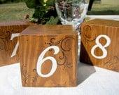 Rustic wedding table numbers, wooden blocks - Set of 10