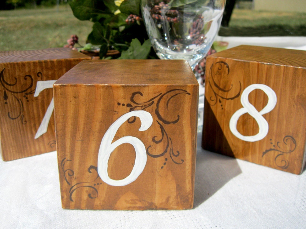 Wooden Table Numbers ~ Rustic wedding table numbers wooden blocks set by