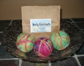 Canadian Wooly Snowballz Pure Felted Wool Dryer Balls (Lot of 3, Multi-Colour)