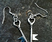 Silver Key to My Heart Earrings