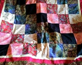 THIS WEEK ONLY special price: Handmade Tropical Patchwork Quilt