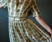 Beautiful 1950's Dress // Vintage 1950's Mad Men Casual Day Dress M