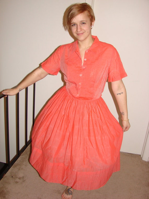 Orange sheer iridescent authentic 50s dress