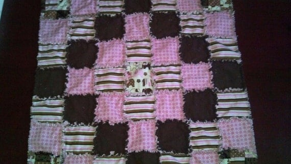 Pink and Brown Elephant Rag Quilt II