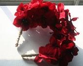 Ruby -Red silk flower  Lana Del Rey Frida Kahlo hippie headband floral crown headdress