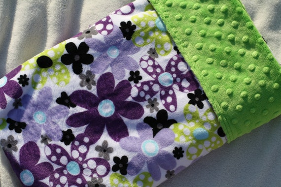Baby Girl MINKY Cuddle Baby Blanket with Girl Purple Flower Print and Dotted Bright Lime Green Minky