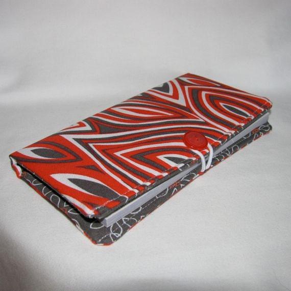 Red/Gray/White Checkbook Cover