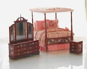 Victorian Canopy Bedroom Set HEIRLOOM TREASURES Dollhouse Miniature Hand-Painted