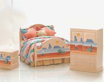 Southwestern PAINTED DESERT Hand-Painted Dollhouse Miniature Bedroom Bed Set 1:12 Custom Dressed