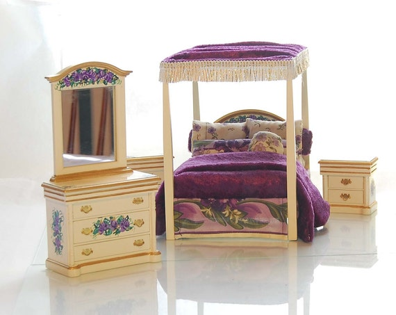 Purple & Gold Luxury Canopy Bed OOAK Hand-Painted Dollhouse Miniature Bedroom Set 1:12 Scale Furniture