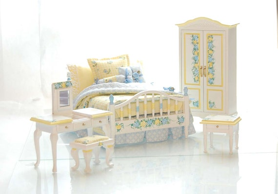 YELLOW & BLUE Pastel Dollhouse Miniature Victorian Bedroom Set - 4pc Hand-Painted Custom Dressed Hand Painted
