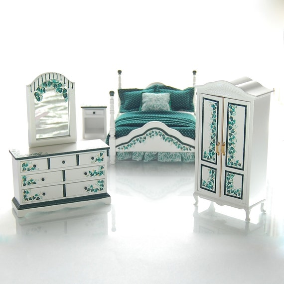 elegant ivy handpainted dollhouse miniature bedroom bed set dark