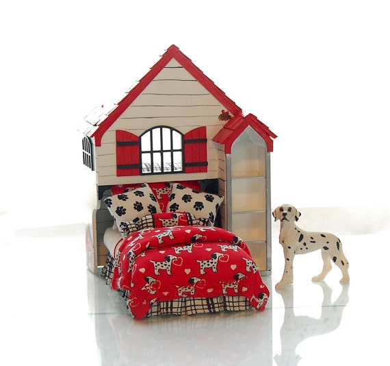 FIREHOUSE PLAYHOUSE BED Dollhouse Miniature Custom Built Hand-Painted Fireman Hero to the Rescue Red Black