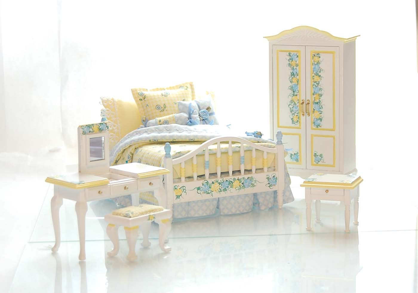 yellow blue pastel dollhouse miniature victorian bedroom set