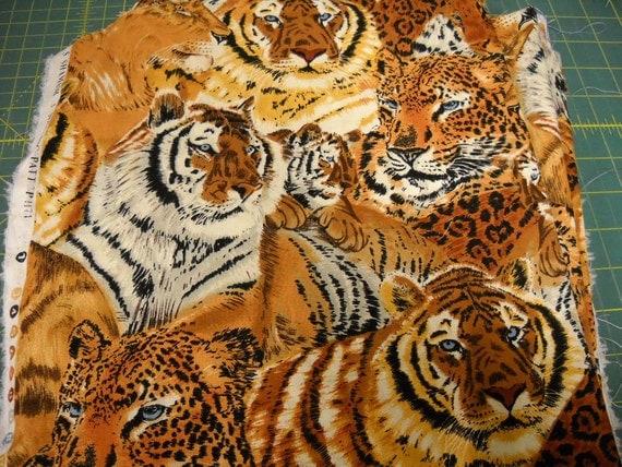 Fabric Wild Animal Big Cats Print Gorgeous by ...