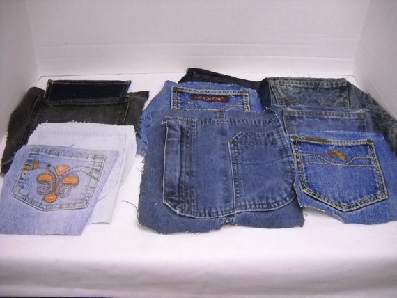 Denim jean pockets upcycled for craft projects lot of 10 by for Denim craft projects