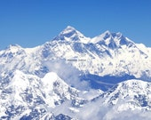 Mt Everest 8 x 10 FINE ART Photograph Himalayan Mountains Clouds Snow Covered