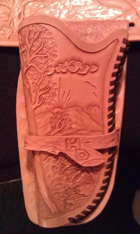 Hand Tooled Leather Holster & Gun Belt