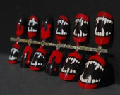 Fangs & Blood Red Drips - Hand Painted Artificial Nail Set