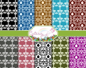 """Damask Digital Paper for scrapbooking, card making, photographers, etc. 8.5"""" x 11"""" OR 12"""" x 12"""""""