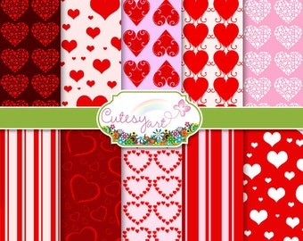 """Hearts Digital Paper for scrapbooking, card making, photographers, etc. 8.5"""" x 11"""" OR 12"""" x 12"""""""