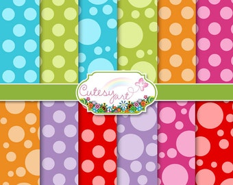 """Polka Dot Paper for scrapbooking, card making, photographers, etc. 8.5"""" x 11"""" OR 12"""" x 12"""""""