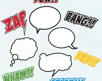 Superhero clipart, Text and Bubbles, comic book, Personal and Commercial Use