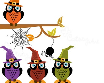 Halloween Owls Clipart, Personal and Commercial Use