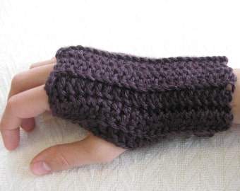 Crochet Fingerless Gloves Basic Women's Deep Purple