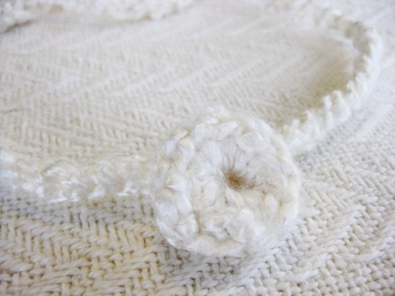 Crochet Baby Headband Halo White Button Flower Photography Prop