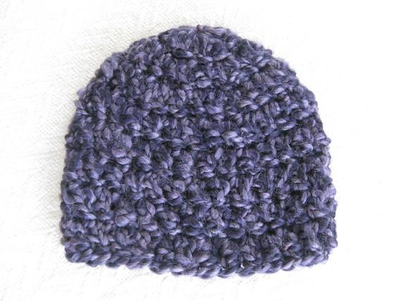 Crochet Baby Hat Purple -3 to 6 months