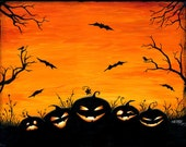 "Halloween art, ""Watchers in the Woods"" pumpkin digital art print"